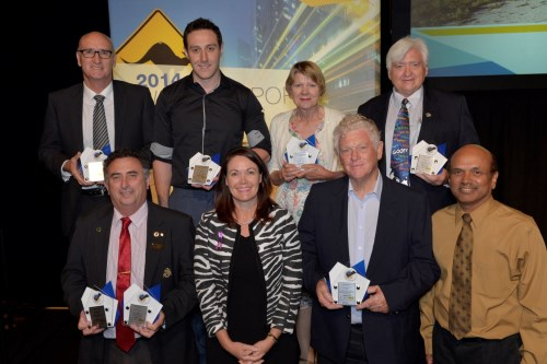 Award recipients, left to right from back row: Dennis Blair, City of Wanneroo; Matthew MacPherson, Town of Claremont; Cr Bronwen Scott, Shire of Irwin; Cr David Boothman, City of Stirling; Cr Mick Wainwright, City of Swan; Hon. Liza Harvey MLA; Rudi Steffens; and Saba Kirupananther, Town of Claremont